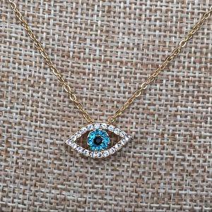 Gold SS Evil Eye Necklace